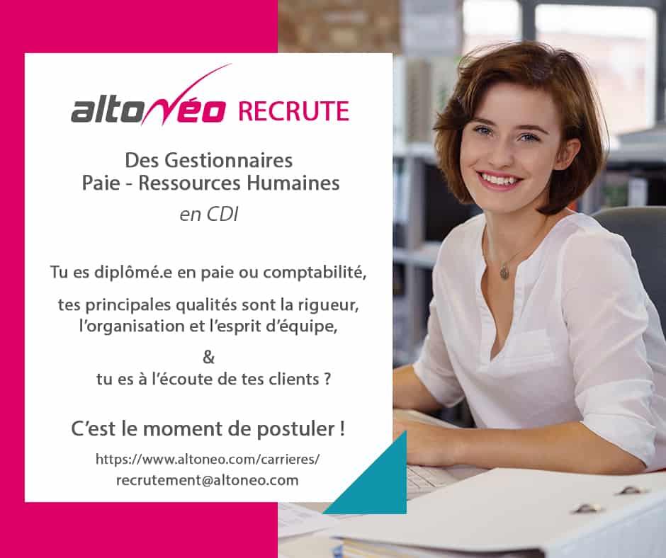 Offre d'emploi, Gestionnaire Paie RH, CDI, Angers, Laval-Changé, Le Mans, Rennes